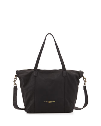 Kaethe Tumbled Leather Tote Bag, Black