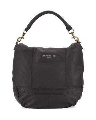 Ramona Pebbled Leather Hobo Bag, Black