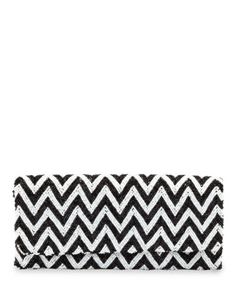 Chevron Beaded Clutch Bag, Black/White