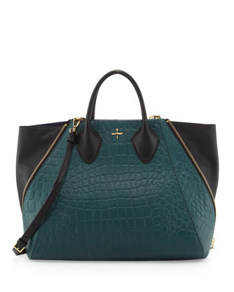 Yves Crocodile Embossed Leather Tote Bag, Jade