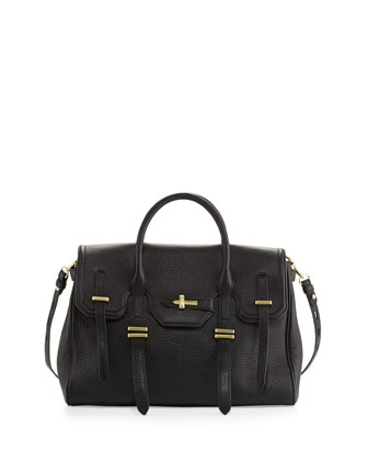 Jules Pebbled Leather Satchel Bag, Black
