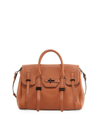 Jules Pebbled Leather Satchel Bag, Almond