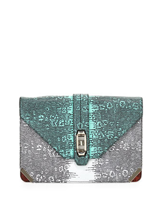Moby Lizard-Print Clutch Bag, Multi