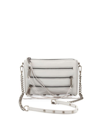 Five-Zip Mini Crossbody Bag, Pale Gray