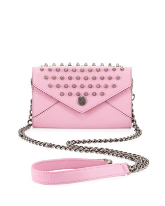 Studded Mini Wallet-on-a-Chain, Pale Pink