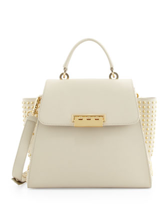 Studded Saffiano Eartha Flap Satchel, Cream