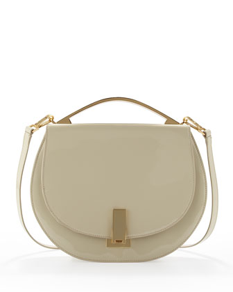 Loren Patent Top-Handle Satchel, Cream