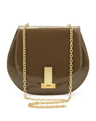 Loren Patent Chain-Strap Shoulder Bag, Clay