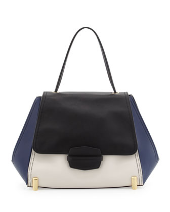 Sistine Colorblock Top-Handle Bag, Black/Pearl/Navy