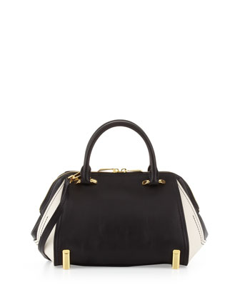 Two-Tone Daphne Satchel Bag, Black/Pearl