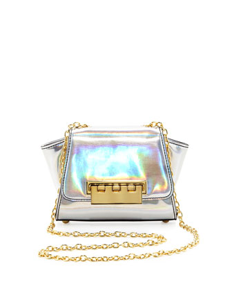 Eartha Mini Holographic Crossbody Bag, Silver