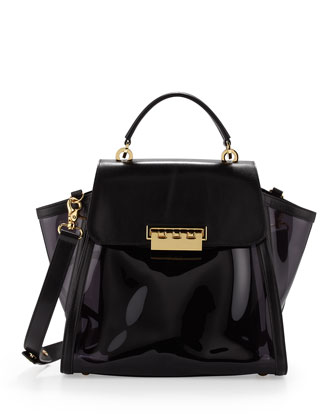 Eartha Clear Vinyl Flap Satchel, Black