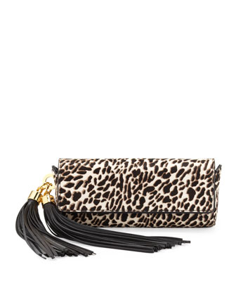 Claudette Top-Flap Clutch, Snow Leopard