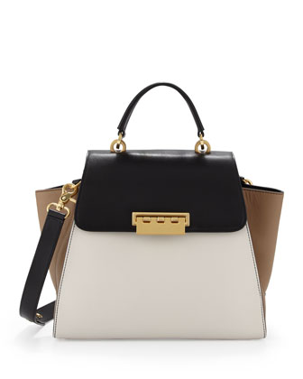 Eartha Colorblock Flap Satchel, Black/Cream/Brown