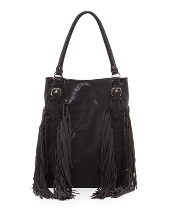 Crazy Heart Fringe Tote Bag, Black