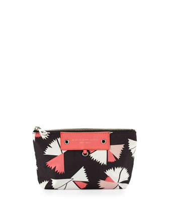 Preppy Pinwheel Nylon Cosmetics Bag, Black Multi
