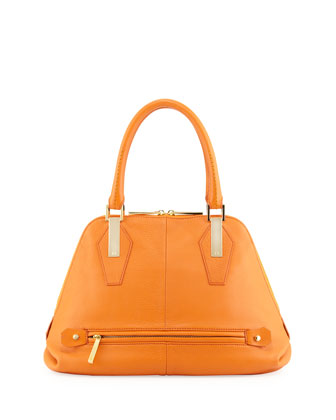 Beverly Leather Satchel Bag, Tangerine