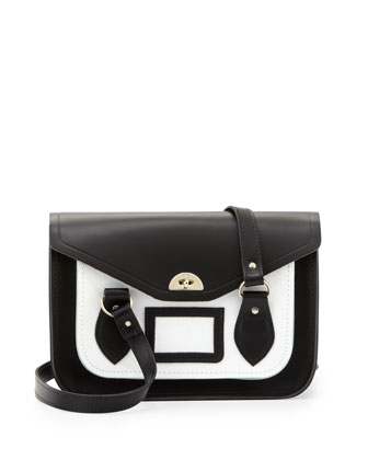 Medium Bicolor Leather Shoulder Bag, Black/White