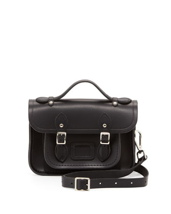 Classic Mini Leather Satchel Bag, Black