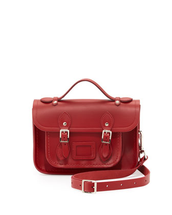 Mini Leather Satchel Bag, Red