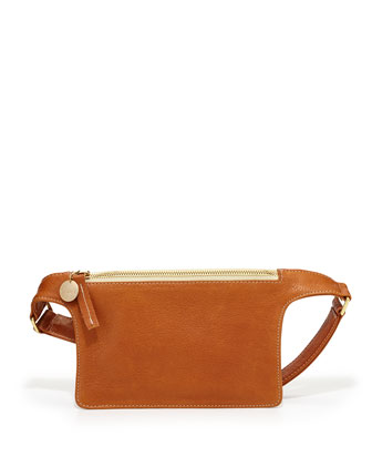 Pebbled Leather Petite Fanny Pack, Tan