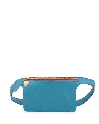 Perforated Petite Fanny Pack, Aqua