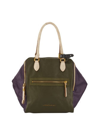 September Double-Zip Colorblock Tote Bag, Olive