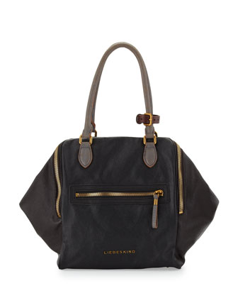 September Double-Zip Canvas Tote Bag, Black