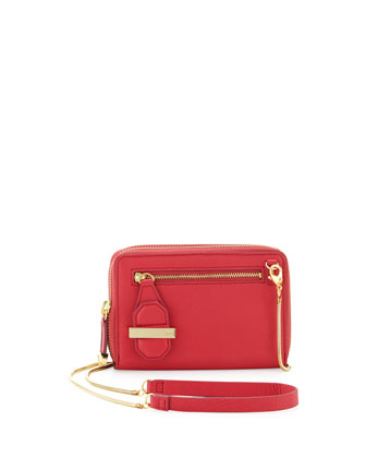 Mini Double Zippy Crossbody Bag, Fuchsia
