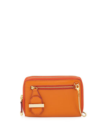 Mini Double Zippy Crossbody Bag, Tangerine