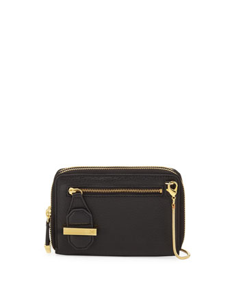 Mini Double Zippy Crossbody Bag, Black
