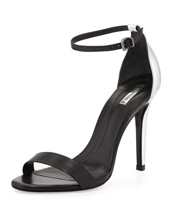 Cadey-Lee Two-Tone Ankle-Strap Sandal, Black/Silver