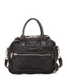Eugene 3D Leather-Mesh Satchel, Black