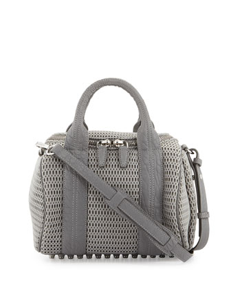 Rockie Mesh Small Crossbody Satchel, Exhaust Gray