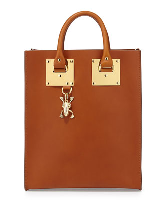 Mini Buckled Leather Tote Bag, Tan