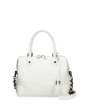 Olivia Pebbled/Patent Satchel Bag, White