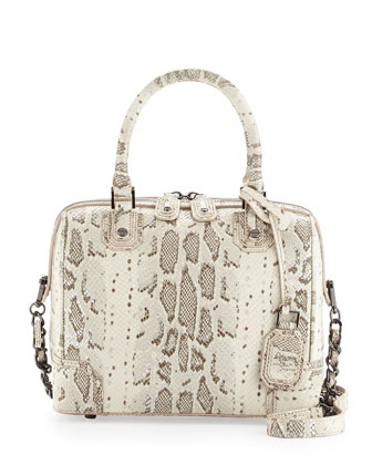 Olivia Snake-Print Satchel Bag, Natural