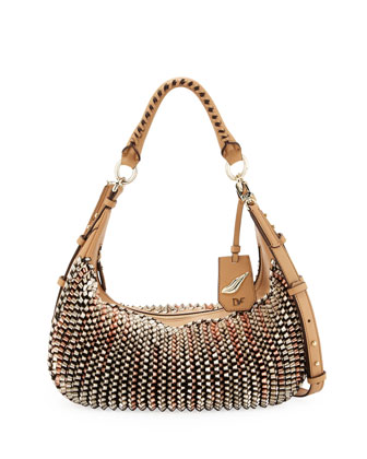 Sutra Knit-Leather Hobo Bag, Gold/Rose Gold