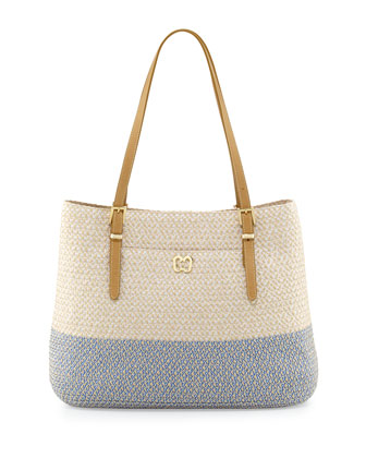 Squishee Jav II Tote Bag, Cream/Blue Tweed