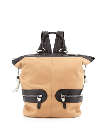 Holly Zip Leather Backpack, Sand Multi
