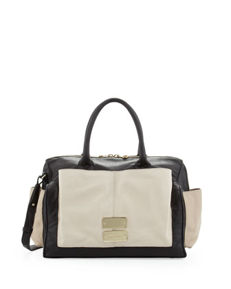 Nellie Colorblock Satchel Bag, Black/Pink/Pearl