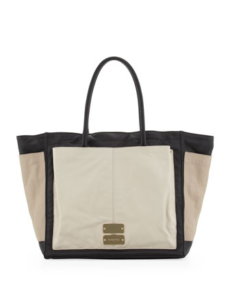 Nellie Large Colorblock Tote Bag, Black/Pebble/Pear