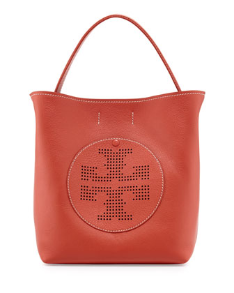 Pebbled Leather Hobo Bag, Curry