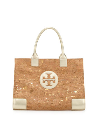 Ella Cork Metallic-Leather Trim Tote Bag