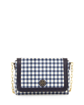 Gingham PVC Crossbody Bag, Navy