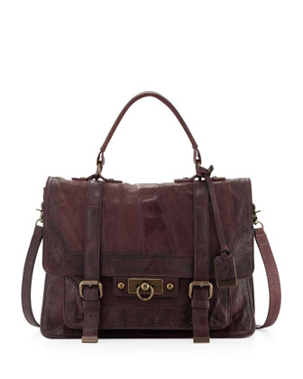 Cameron Leather Satchel Bag, Plum