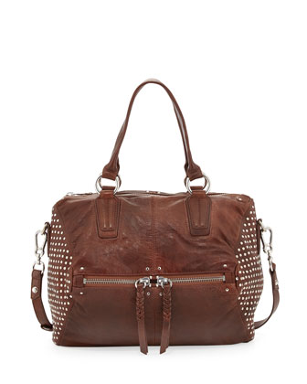 Dora Studded-Side Satchel Bag, Brown