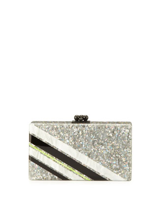 Jean Retro Stripe Acrylic Clutch Bag