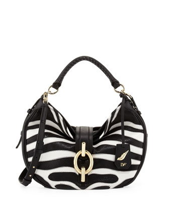 Sutra Patchwork Zebra Hobo Bag