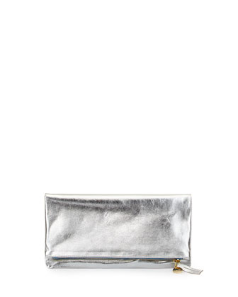 Fold-Over Metallic Leather Clutch Bag, Silver